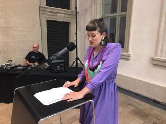 Amely Deiss (Leiterin des Kunstpalais) und Ian Genocchi, Foto: Milena Mercer